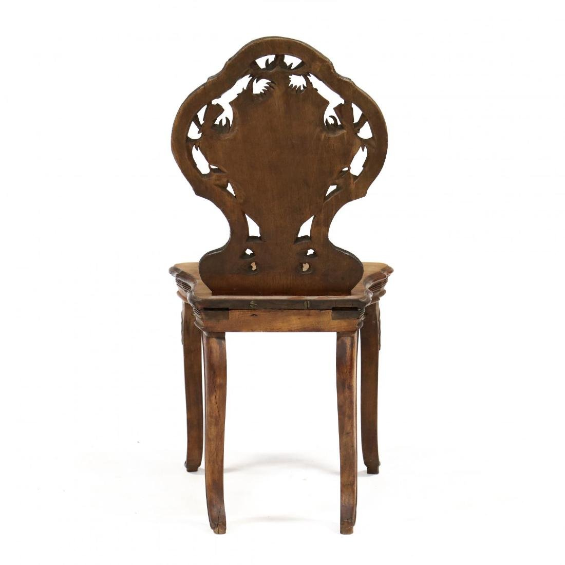 Black Forest Carved and Inlaid Chair - 4
