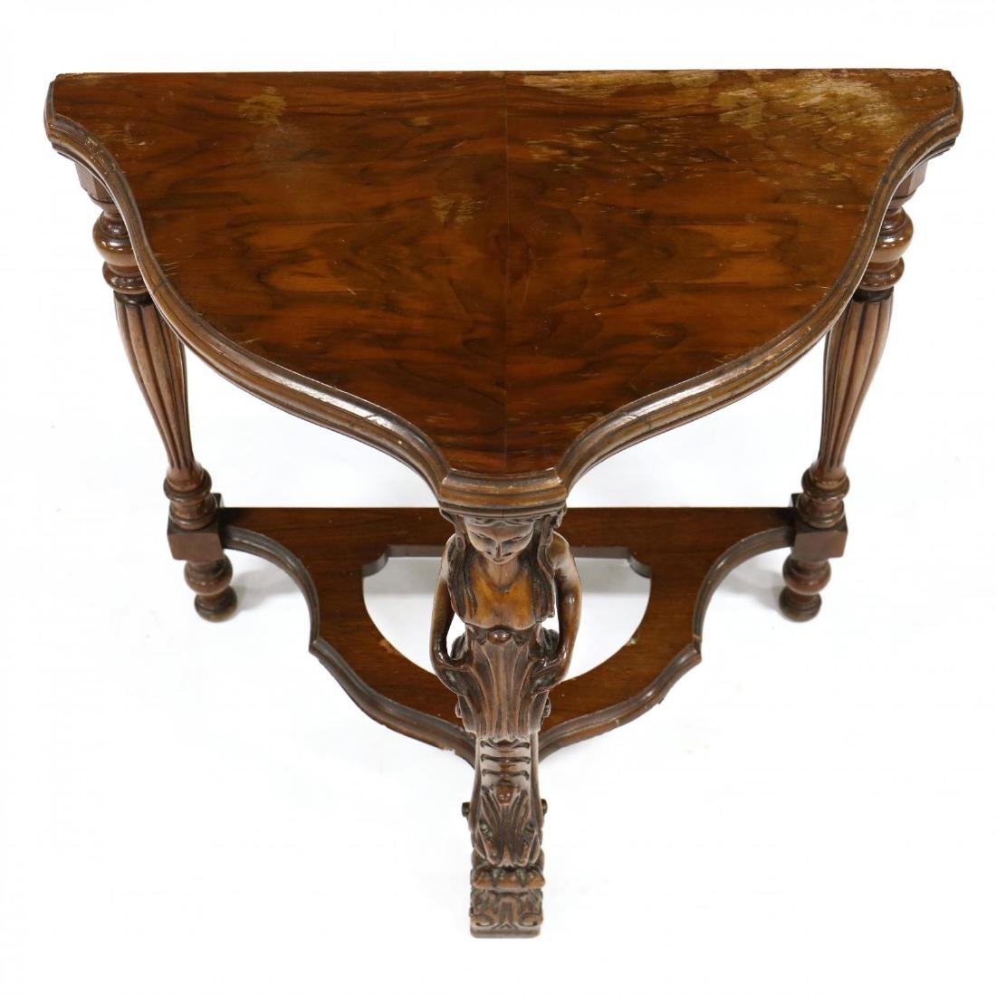 Continental Carved Walnut Low Demilune Table - 2