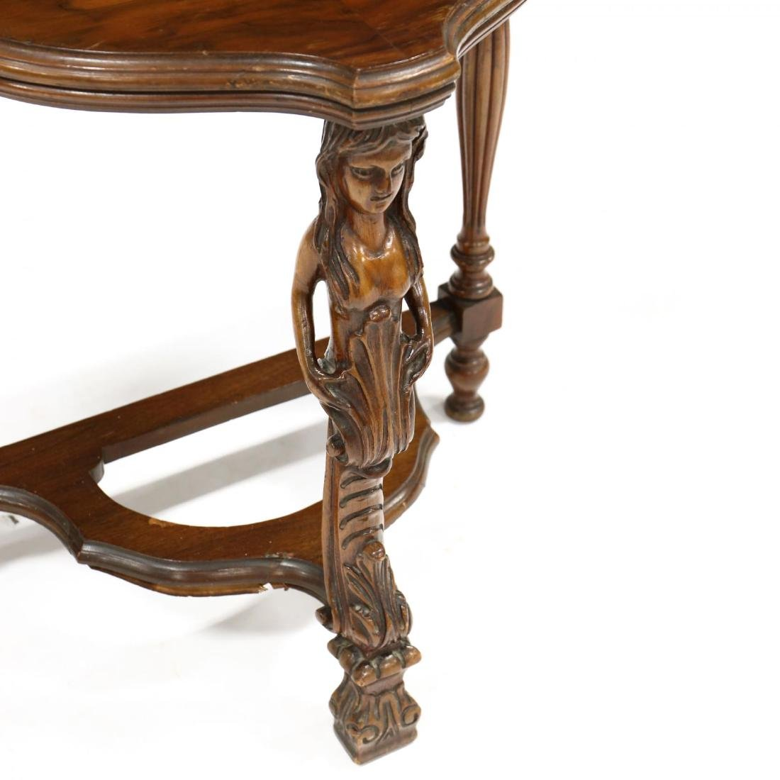 Continental Carved Walnut Low Demilune Table - 3