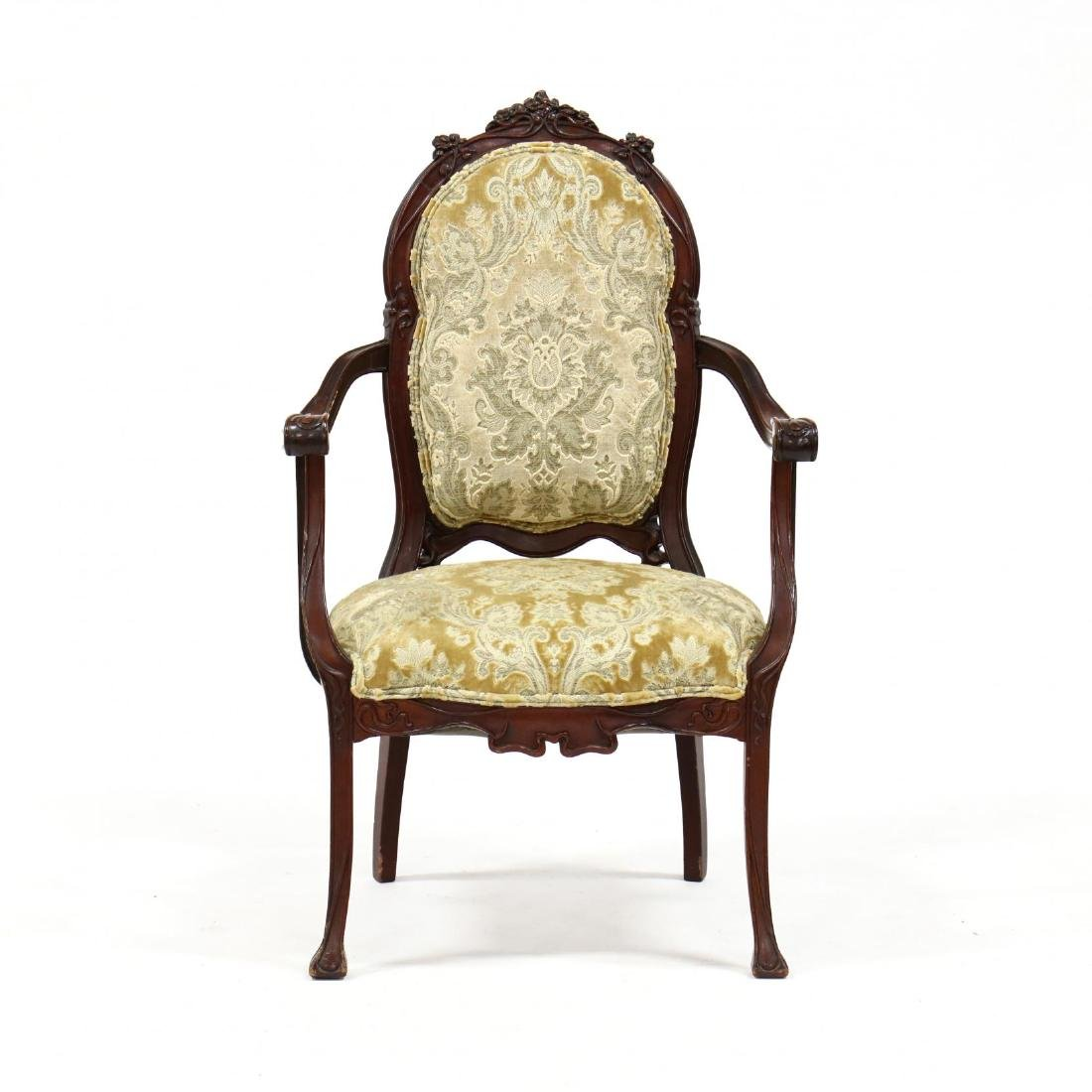 Art Nouveau Carved Mahogany Arm Chair