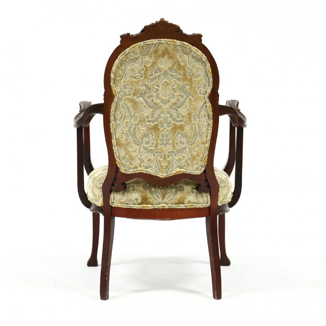 Art Nouveau Carved Mahogany Arm Chair - 3