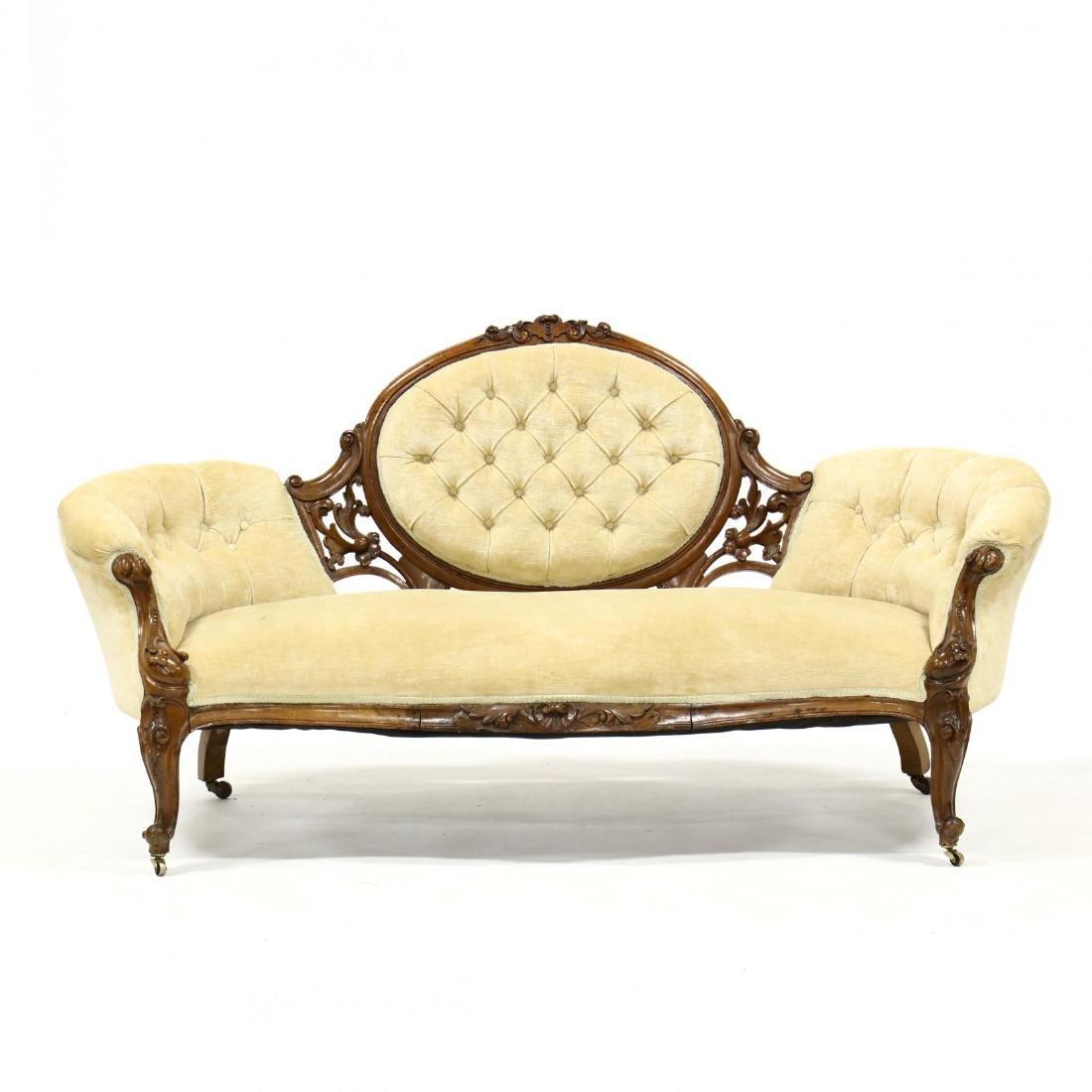 Rococo Revival Victorian Carved Walnut Sofa