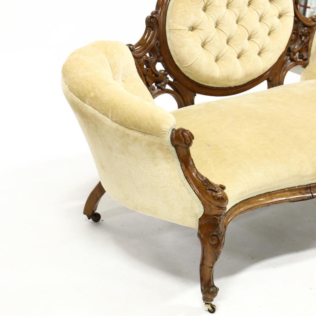 Rococo Revival Victorian Carved Walnut Sofa - 3
