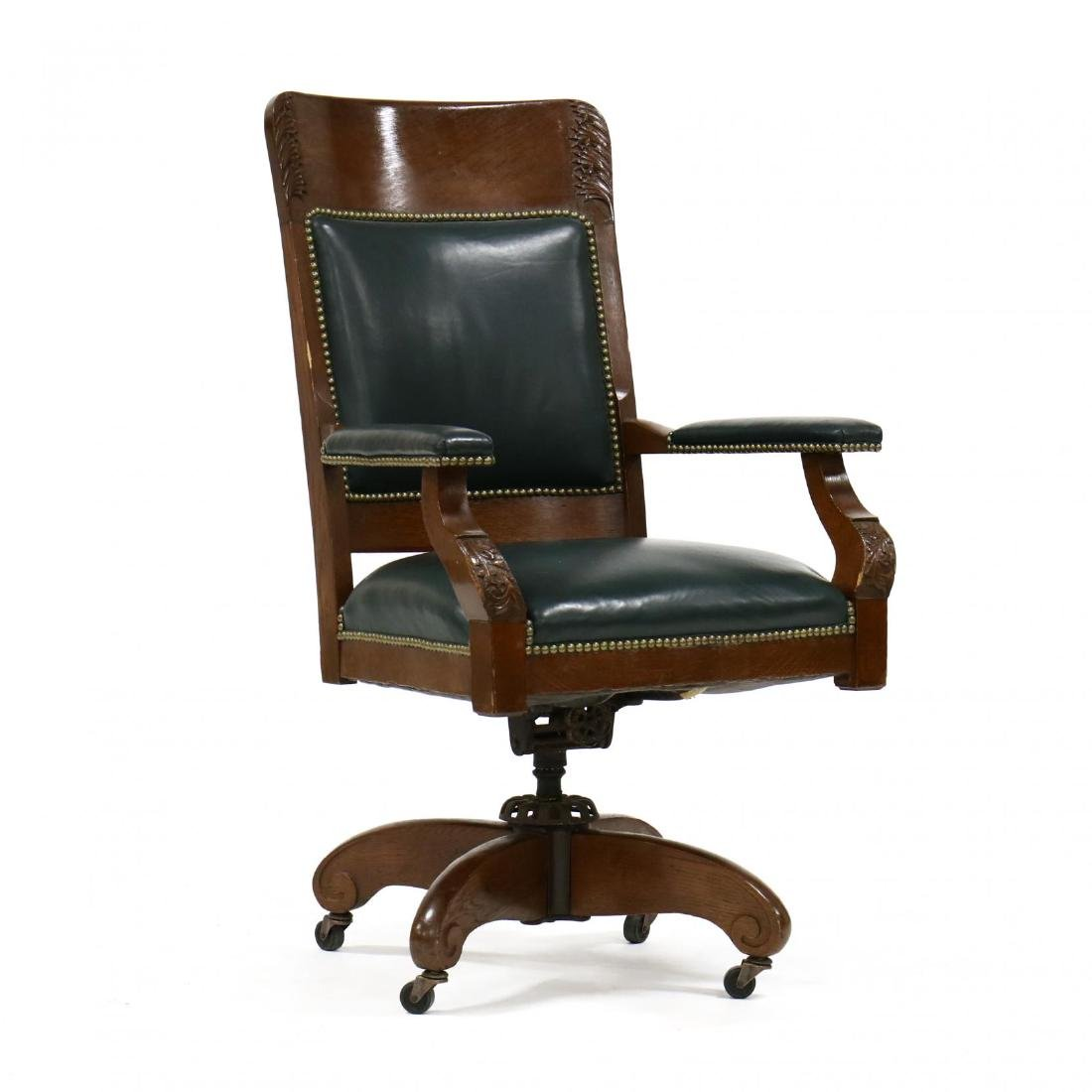 Edwardian Carved Oak and Leather Office Chair