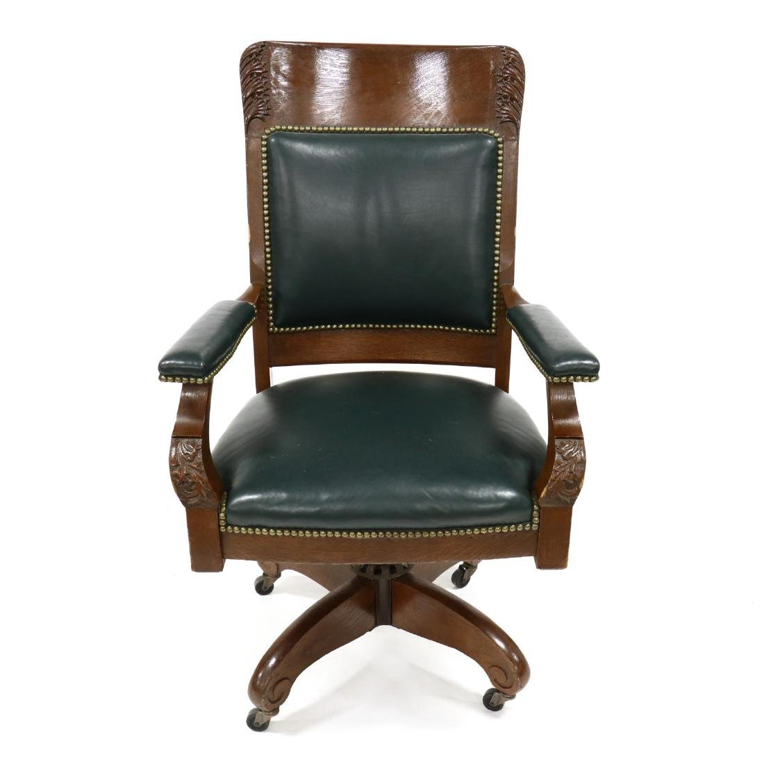 Edwardian Carved Oak and Leather Office Chair - 2