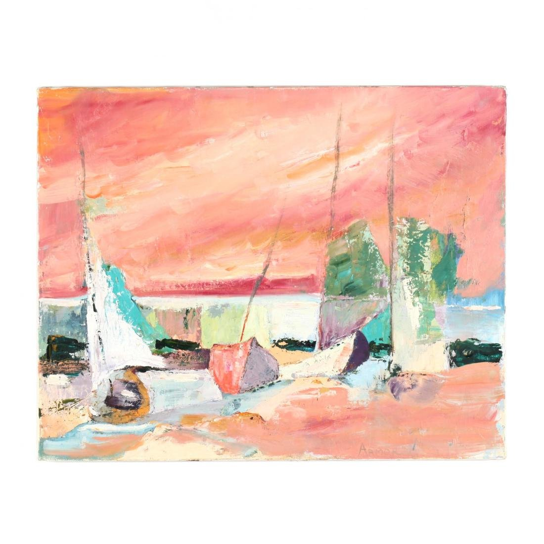 Impressionist Painting of Sail Boats