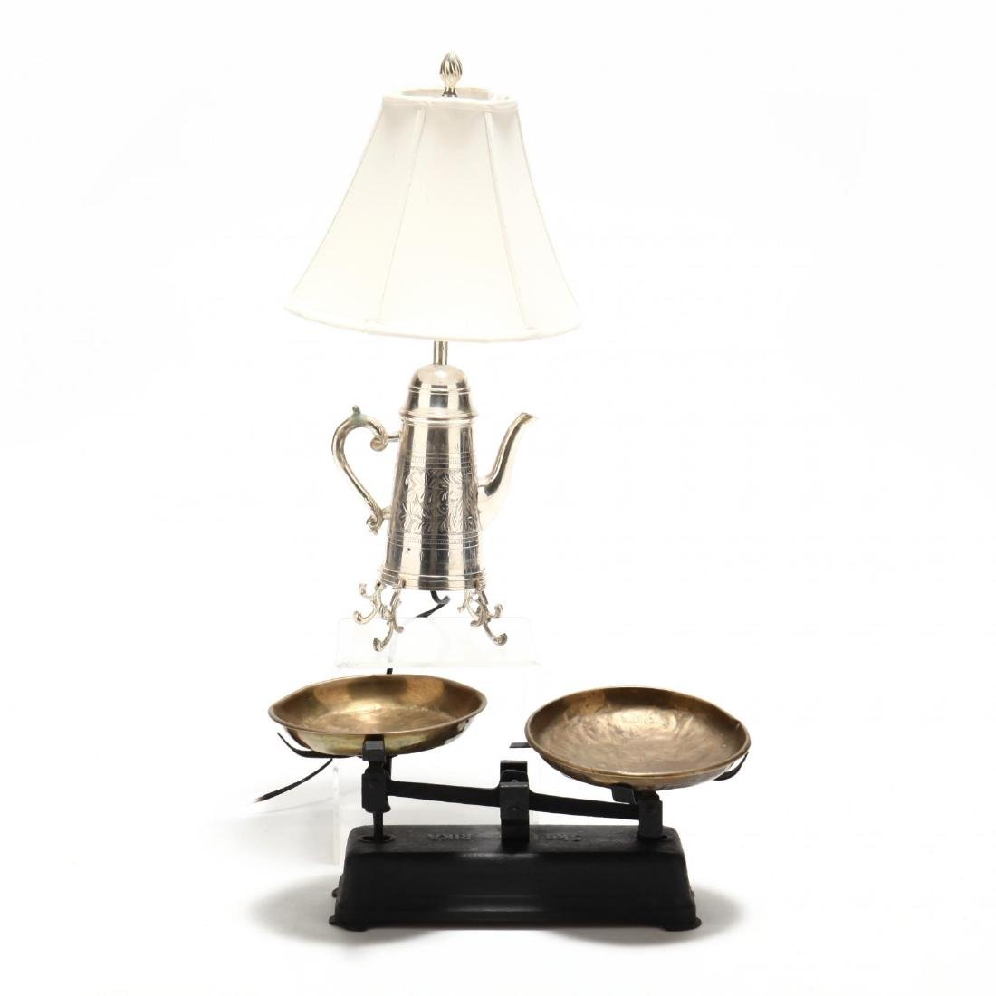 Decorative Counter Top Scales and Tea Pot Lamp