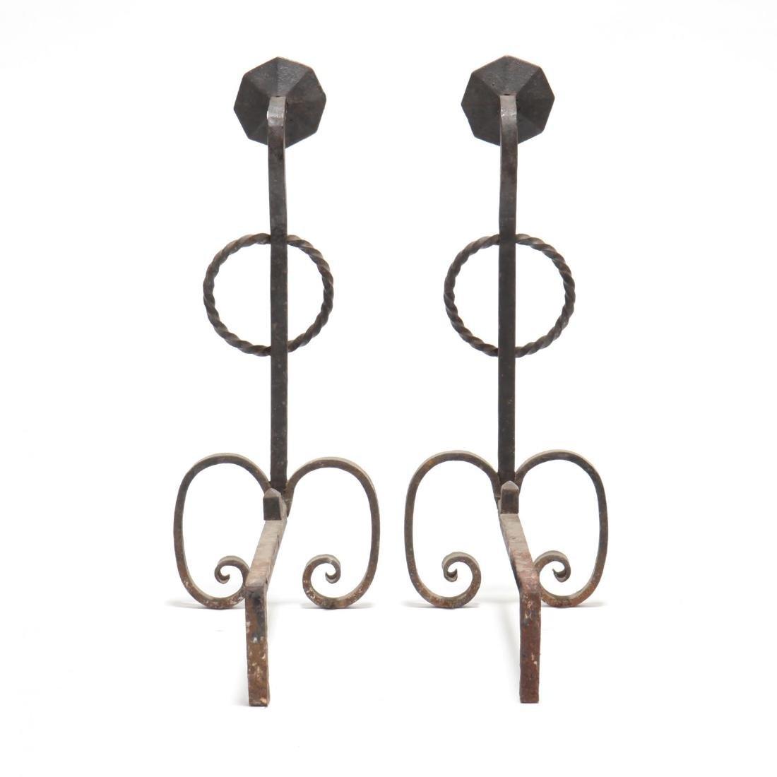 Pair of Wrought Iron Andirons - 2