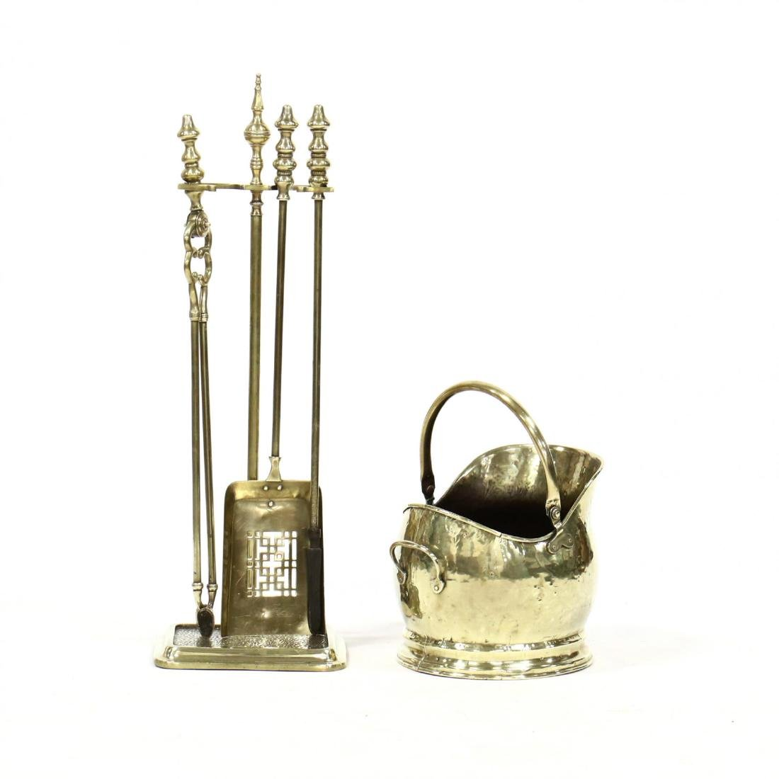 Vintage Brass Fireplace Tools and Coal Bucket