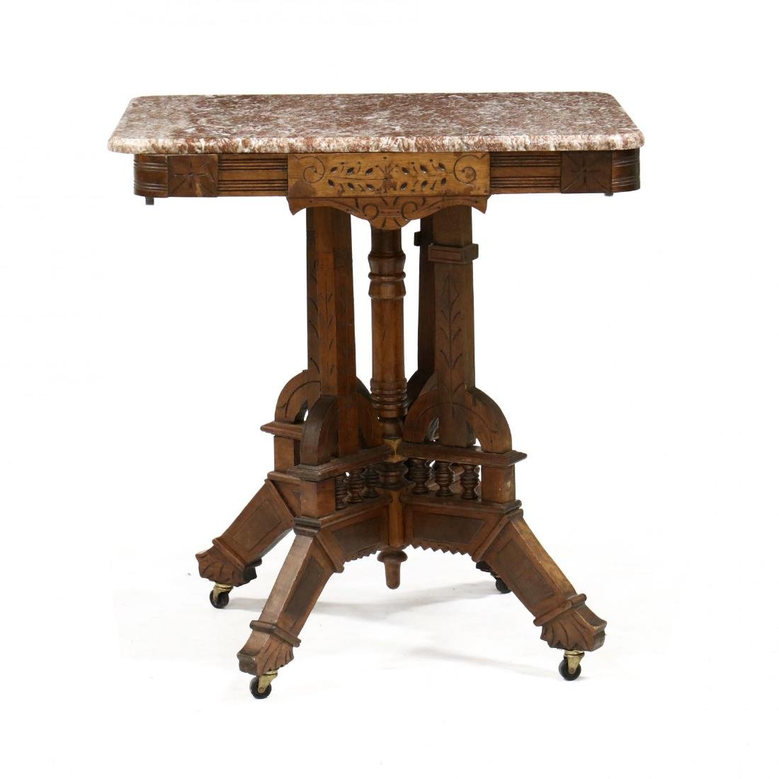 Victorian Eastlake Marble Top Table