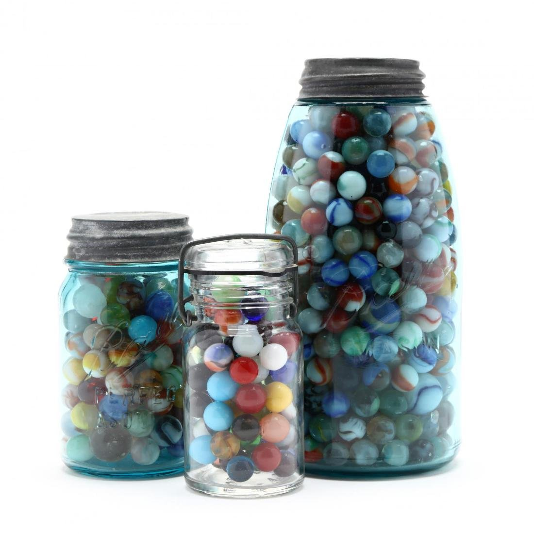 Three Vintage Jars of Marbles