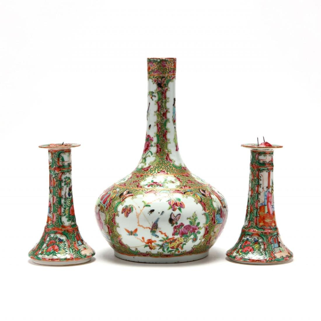 A Chinese Famille Rose Pair of Candle Sticks and Bottle - 2