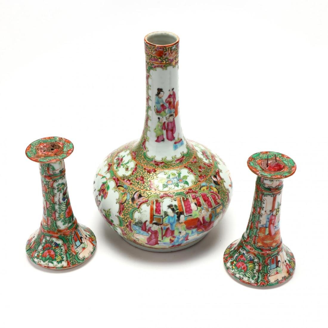 A Chinese Famille Rose Pair of Candle Sticks and Bottle - 3
