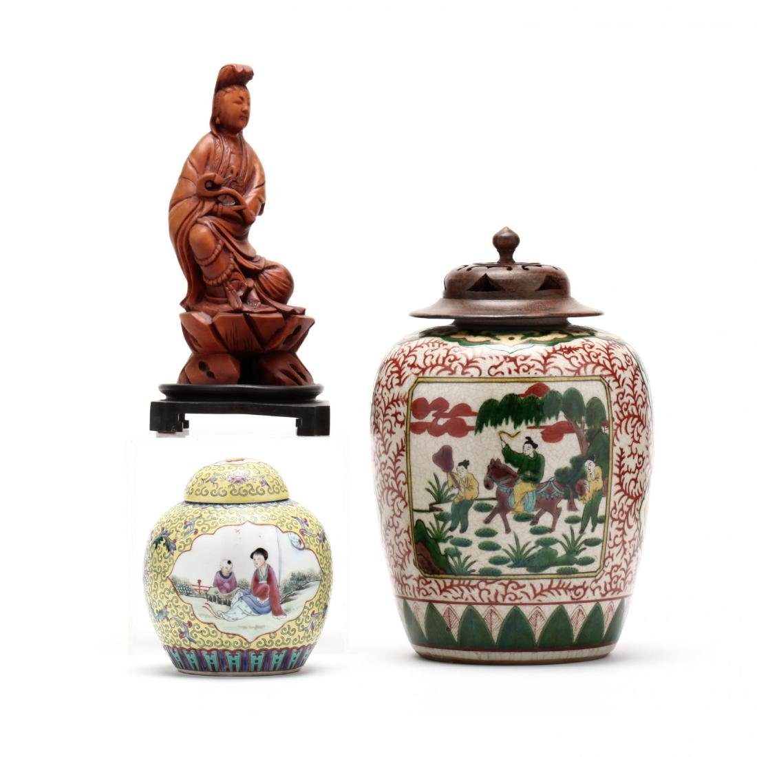 Two Chinese Covered Ginger Jars and Carved Wooden
