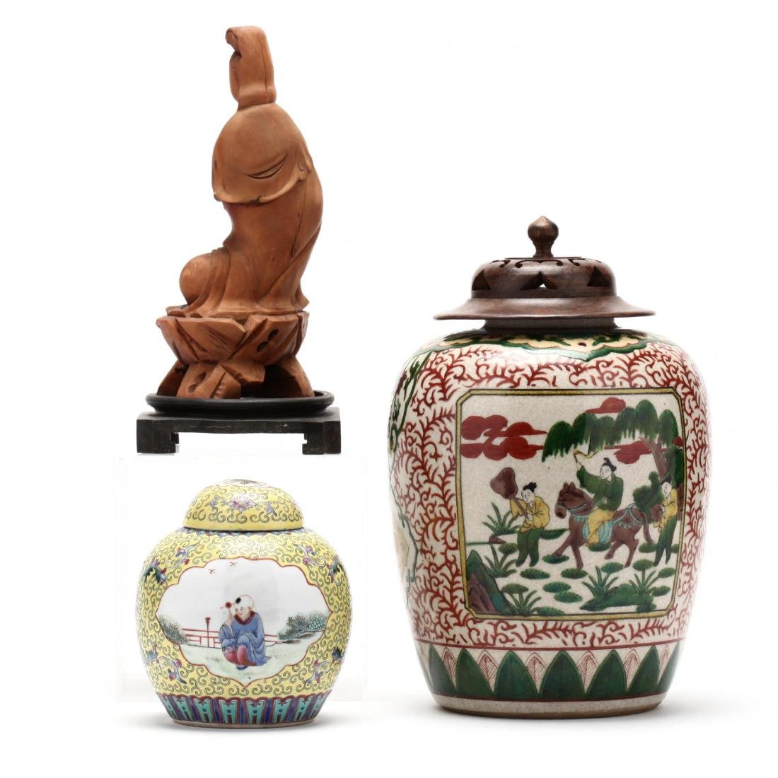 Two Chinese Covered Ginger Jars and Carved Wooden - 2