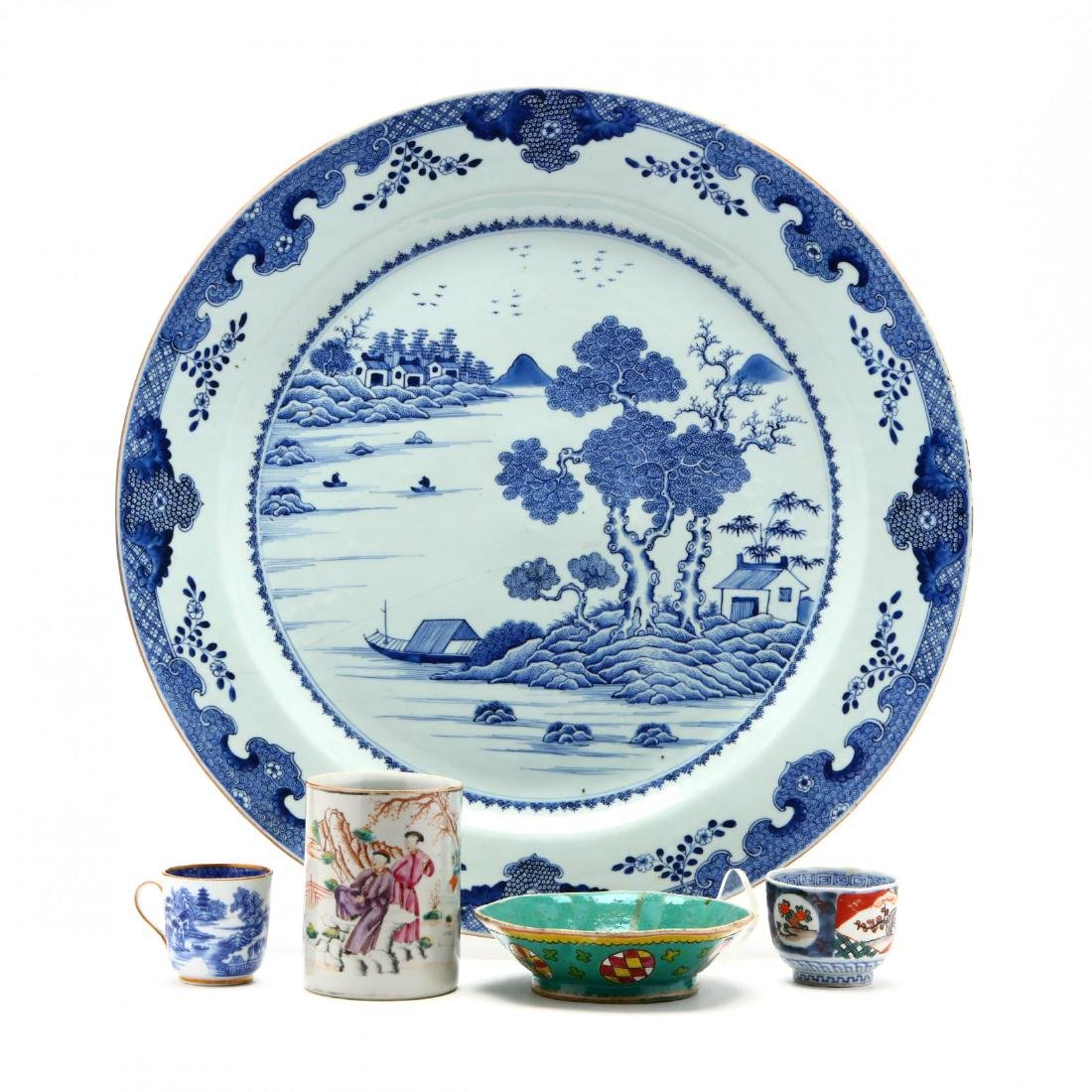 A Large Chinese Charger and Decorative Porcelain Items