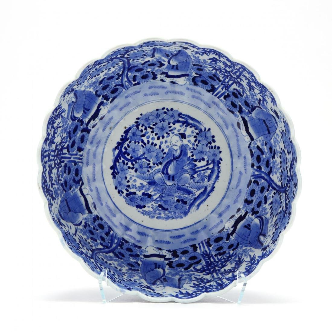 A Blue and White Punch Bowl with Scalloped Rim