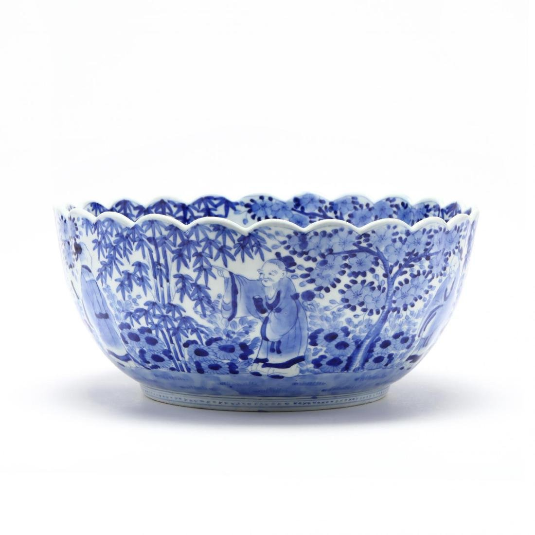 A Blue and White Punch Bowl with Scalloped Rim - 4