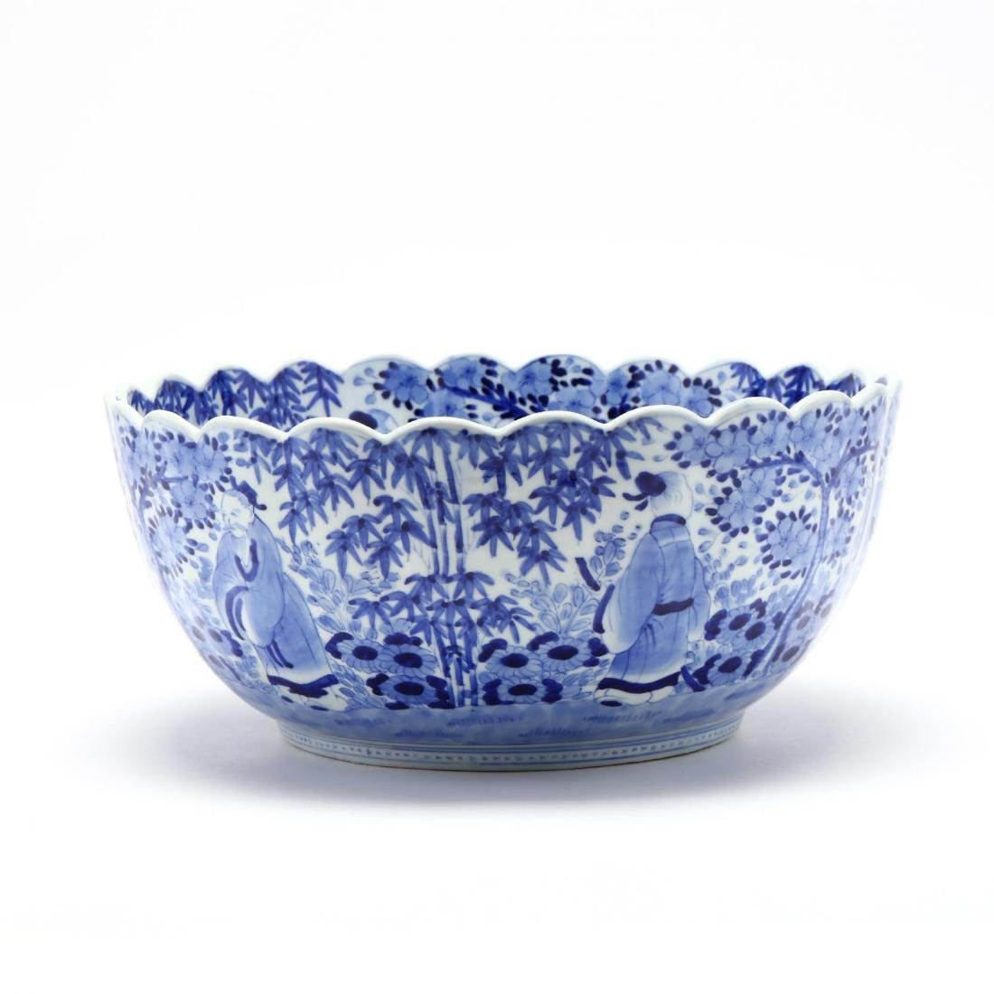 A Blue and White Punch Bowl with Scalloped Rim - 5