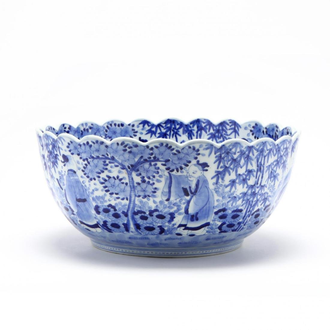 A Blue and White Punch Bowl with Scalloped Rim - 6