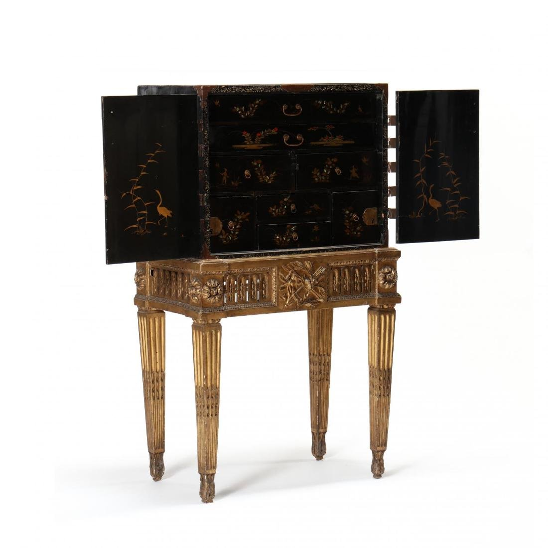 A Japanese Lacquered Cabinet on a Carved Giltwood Stand - 2