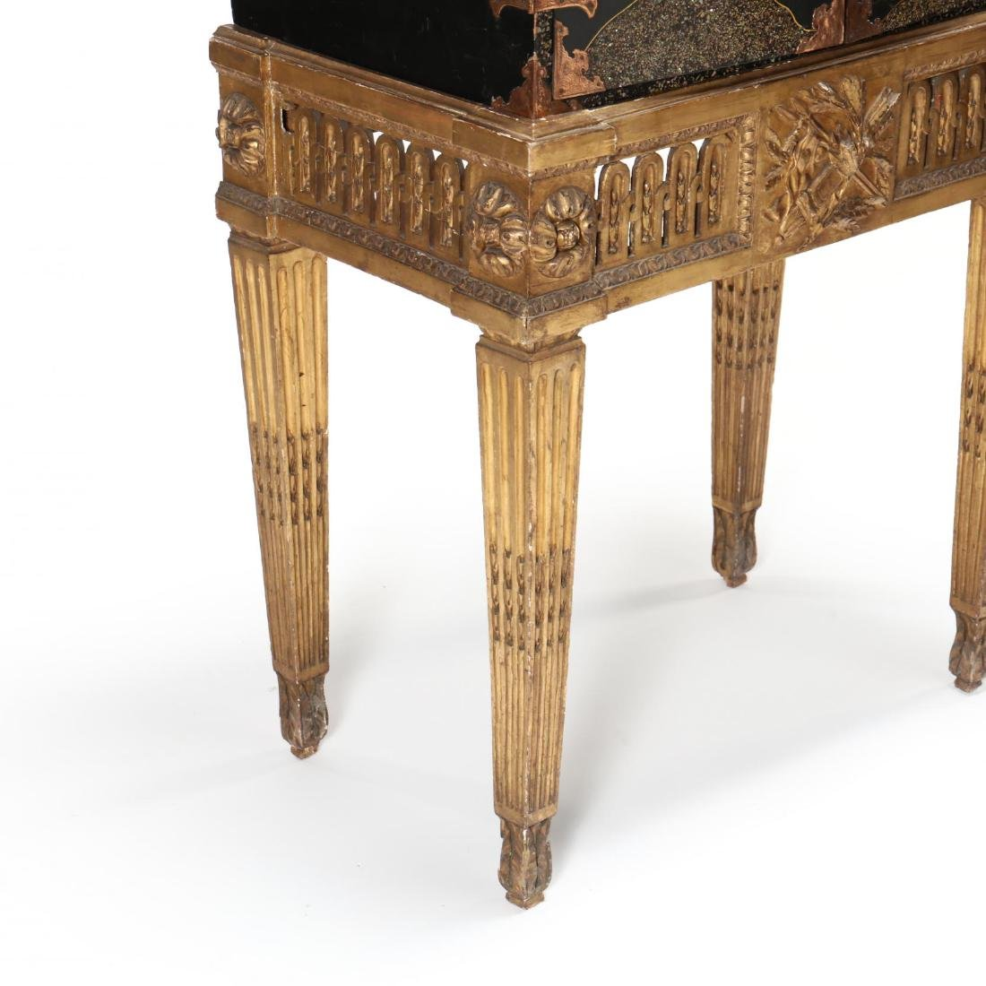A Japanese Lacquered Cabinet on a Carved Giltwood Stand - 5