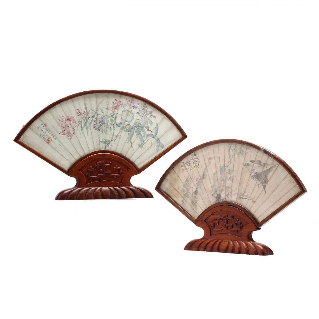 A Matched Pair of Chinese Framed Fan Face Paintings