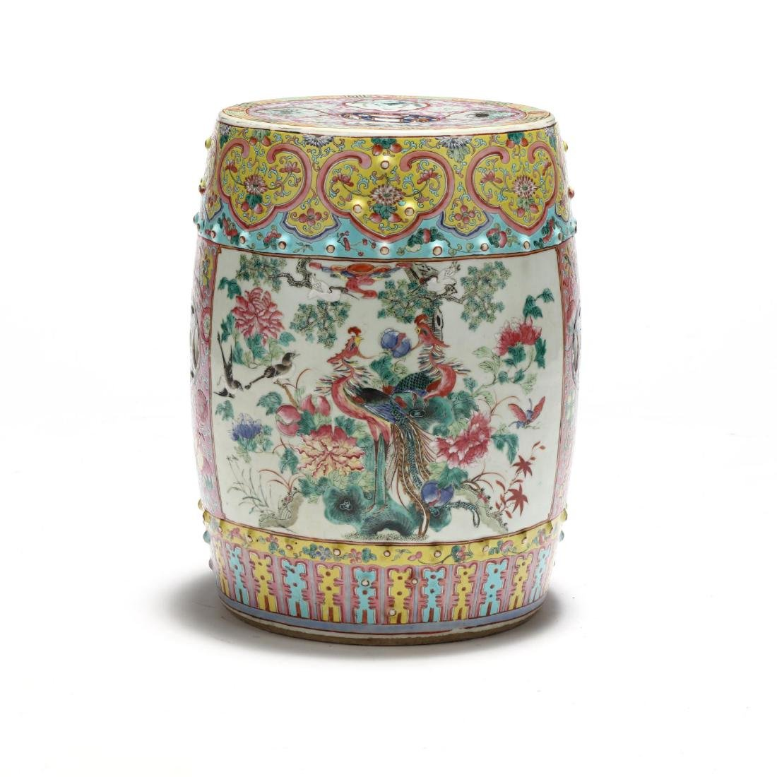 A Chinese Famille Rose Drum Garden Stool