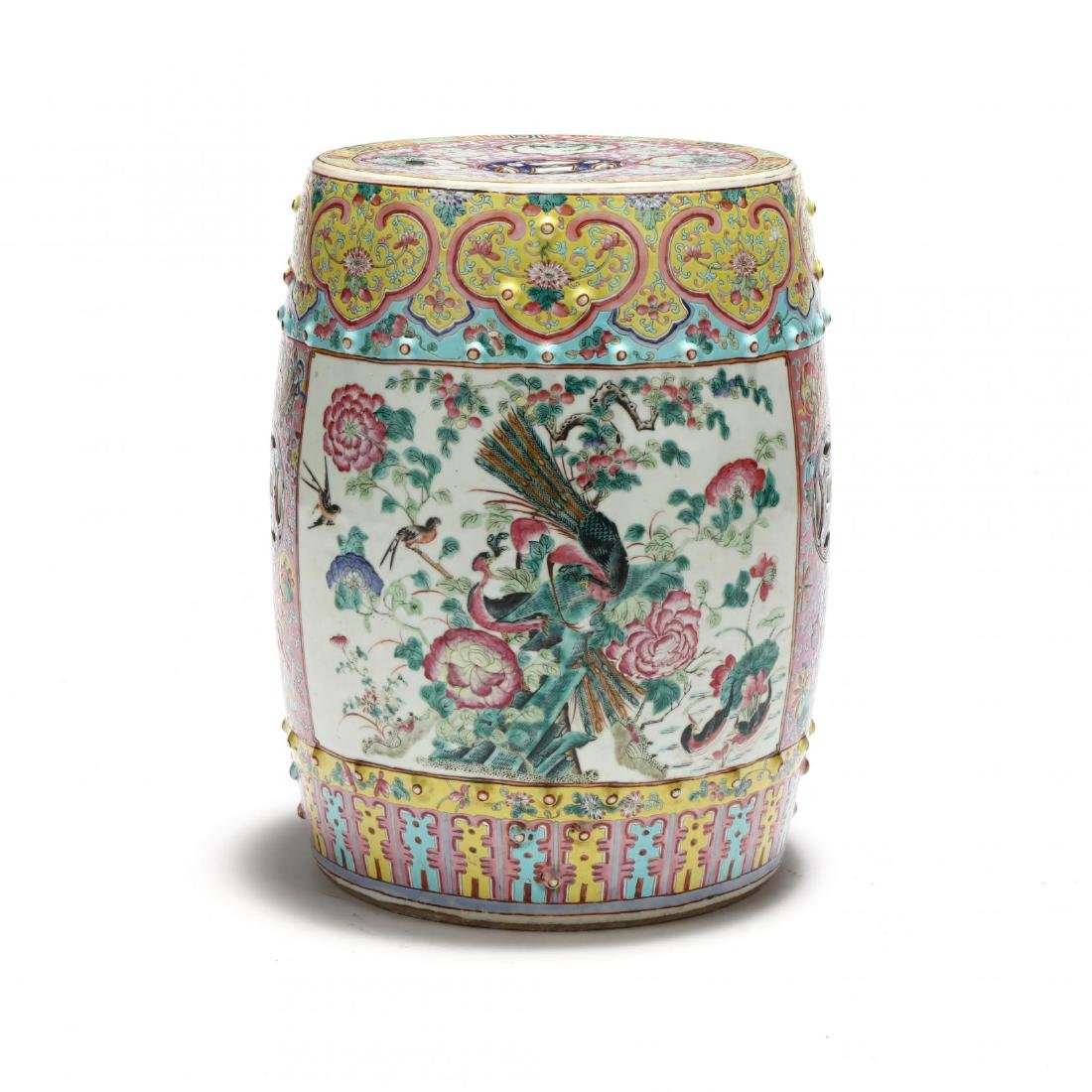 A Chinese Famille Rose Drum Garden Stool - 4