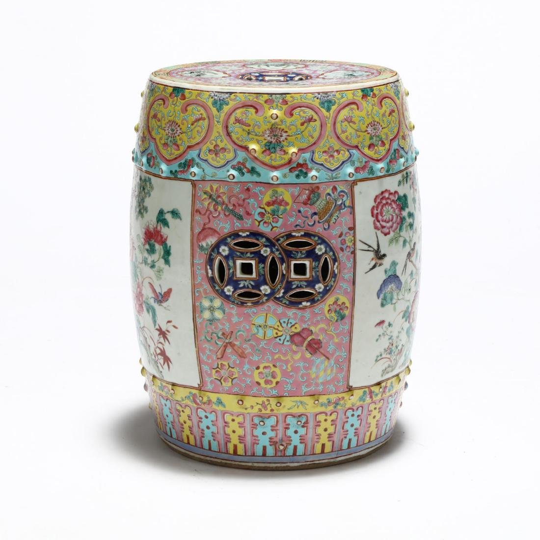 A Chinese Famille Rose Drum Garden Stool - 5