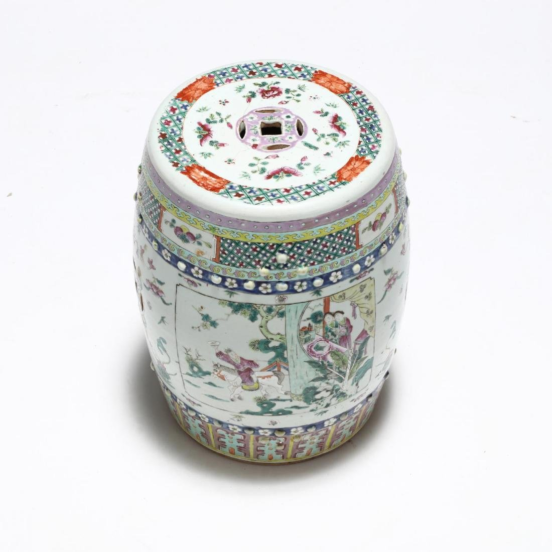 A Chinese Famille Rose Drum Garden Stool - 2