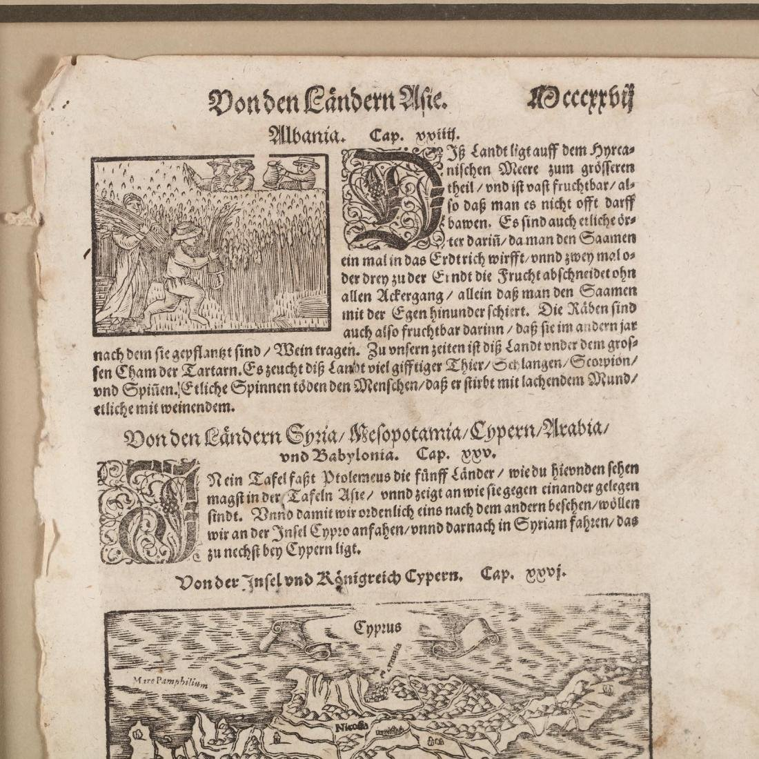 Münster, Sebastian. Book Leaf With Map of Cyprus - 2