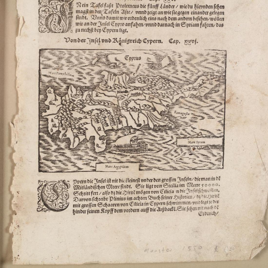 Münster, Sebastian. Book Leaf With Map of Cyprus - 3