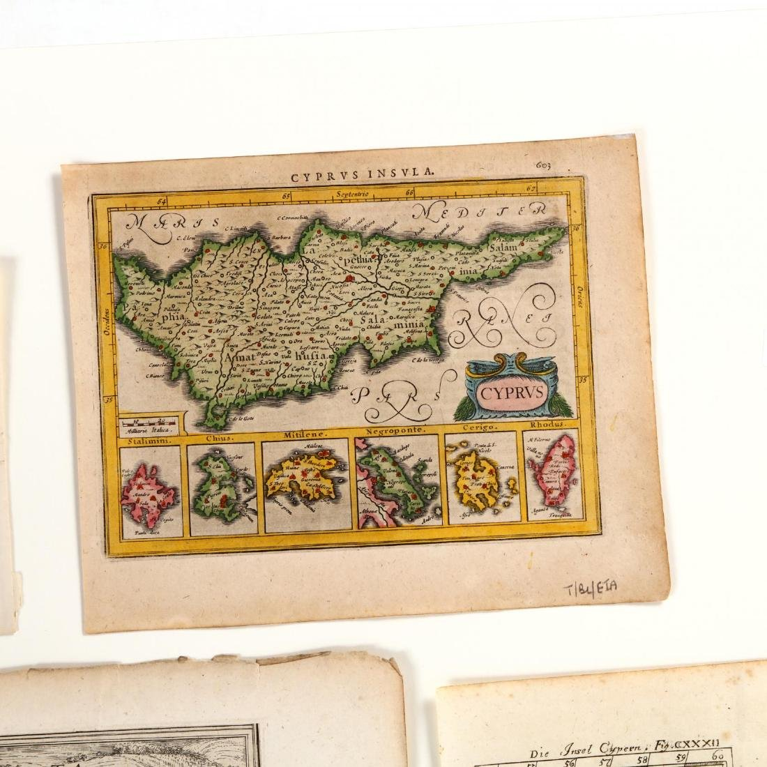 Four Small Antique Maps Pertaining to Cyprus - 2
