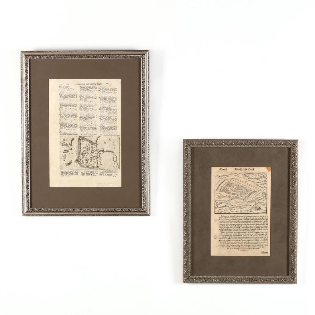 Two Disbound Book Leaves Showing the 1571 Siege of
