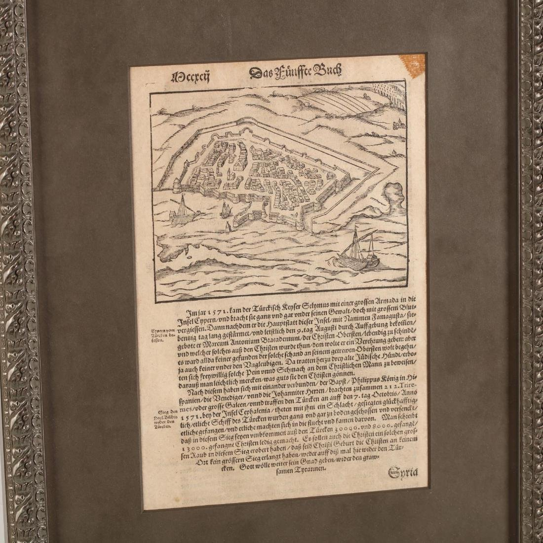 Two Disbound Book Leaves Showing the 1571 Siege of - 3