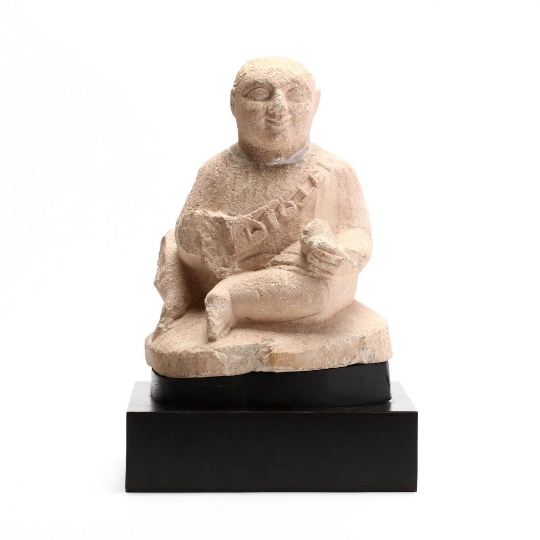 Cypriot Seated Limestone Figure, Ex. Cesnola Collection