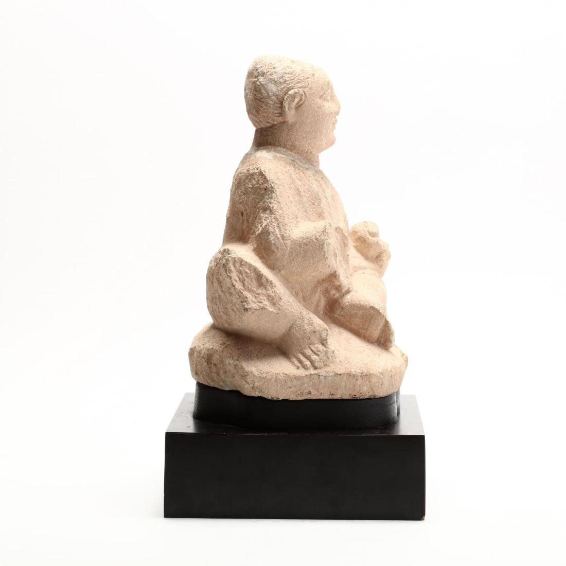 Cypriot Seated Limestone Figure, Ex. Cesnola Collection - 4