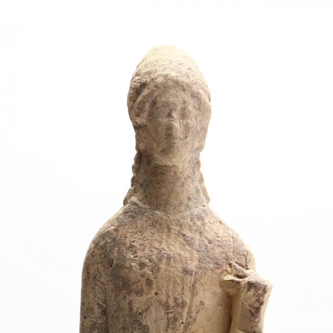 Cypriot Carved Limestone Female Figure - 2