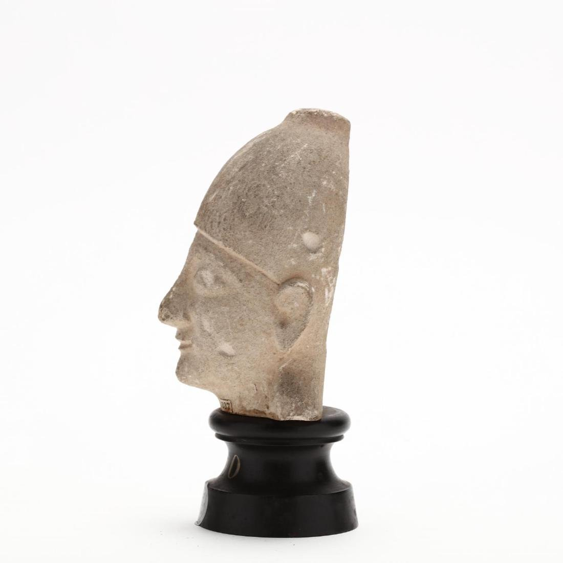 Cypriot Limestone Head of a Priest or Votary, Ex. - 4
