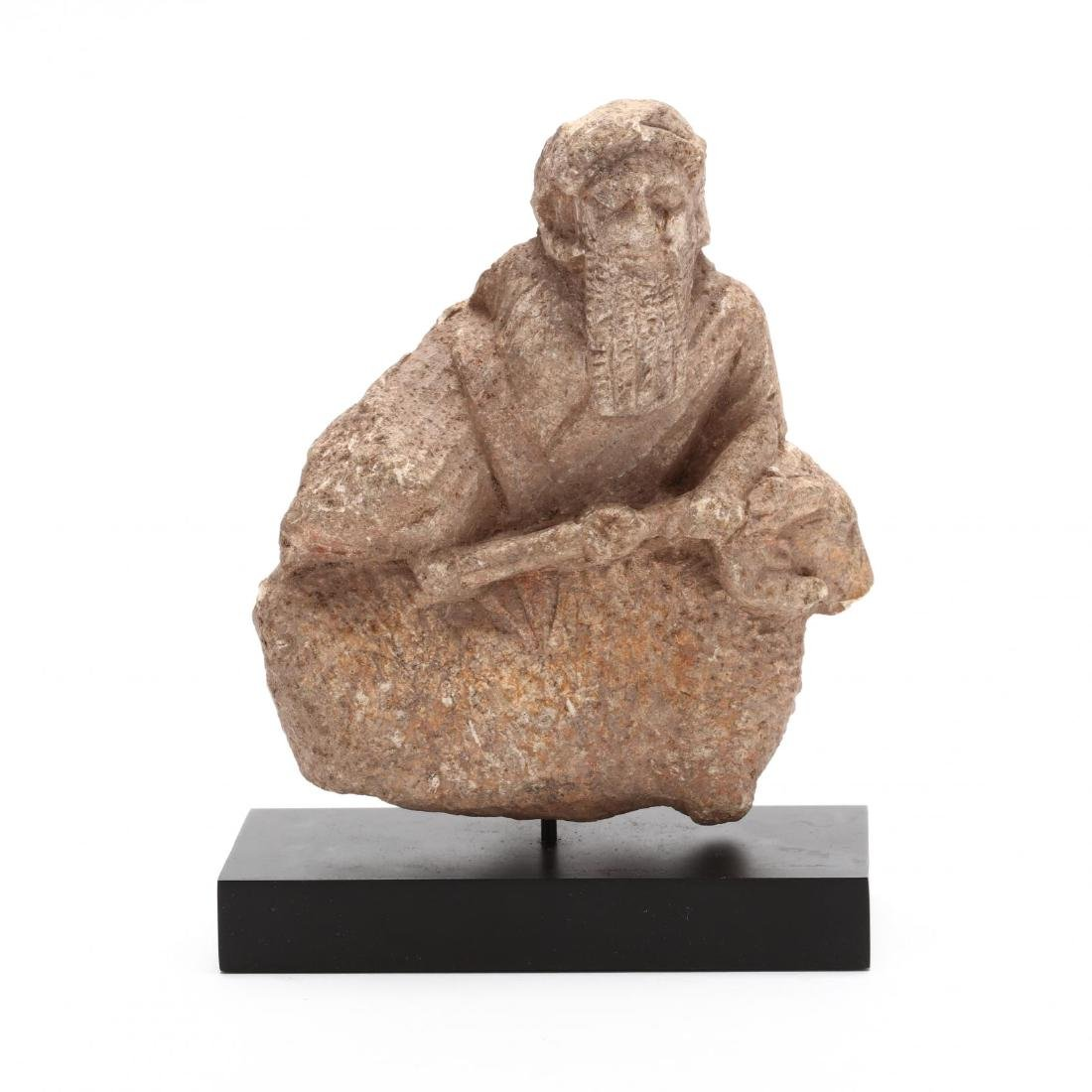 Cypriot Archaic Limestone Carving of a Deity
