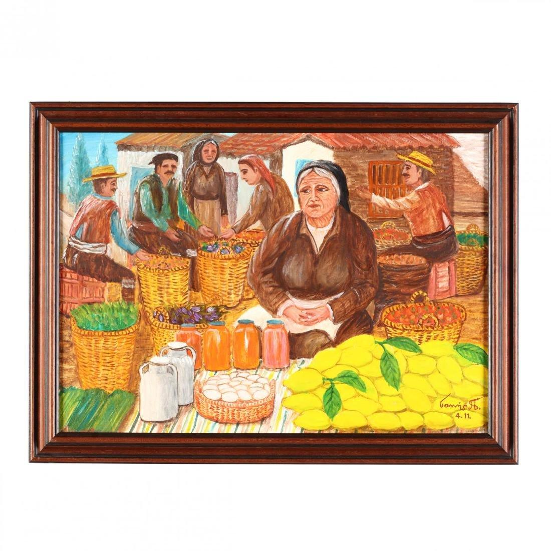 Yiannis Pelekanos (Cypriot, b. 1937), The Market Vendor