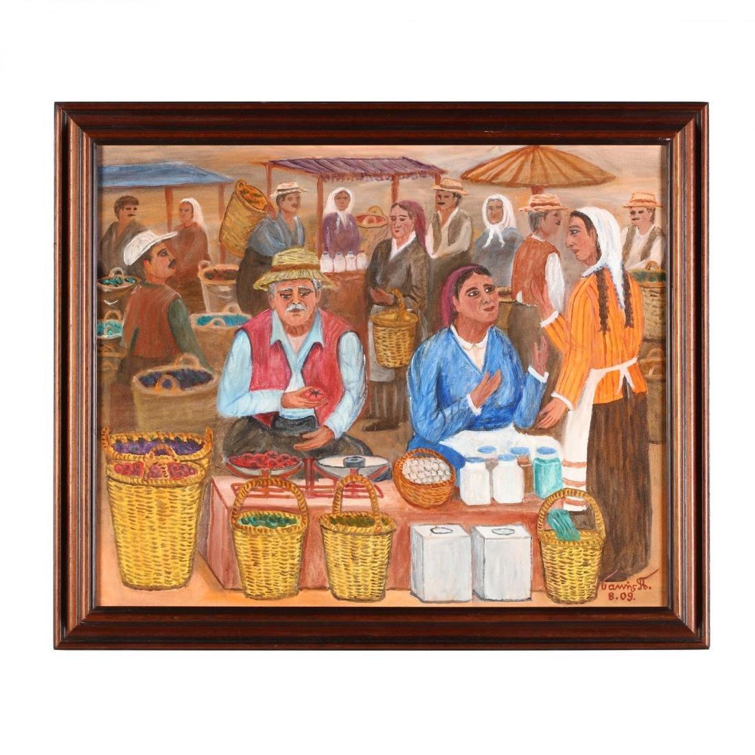 Yiannis Pelekanos (Cypriot, b. 1937), Open Air Market