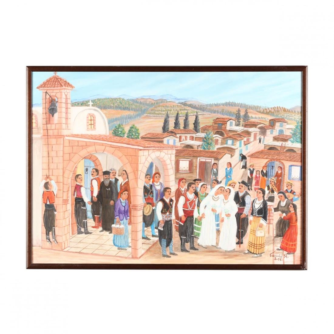 Yiannis Pelekanos (Cypriot, b. 1937), A Village Wedding