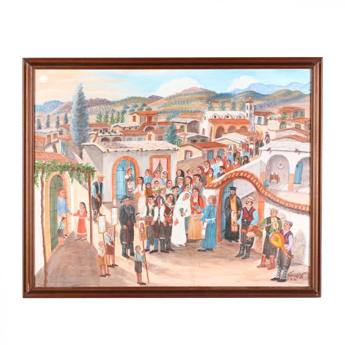 Yiannis Pelekanos (Cypriot, b. 1937), A Musical Village