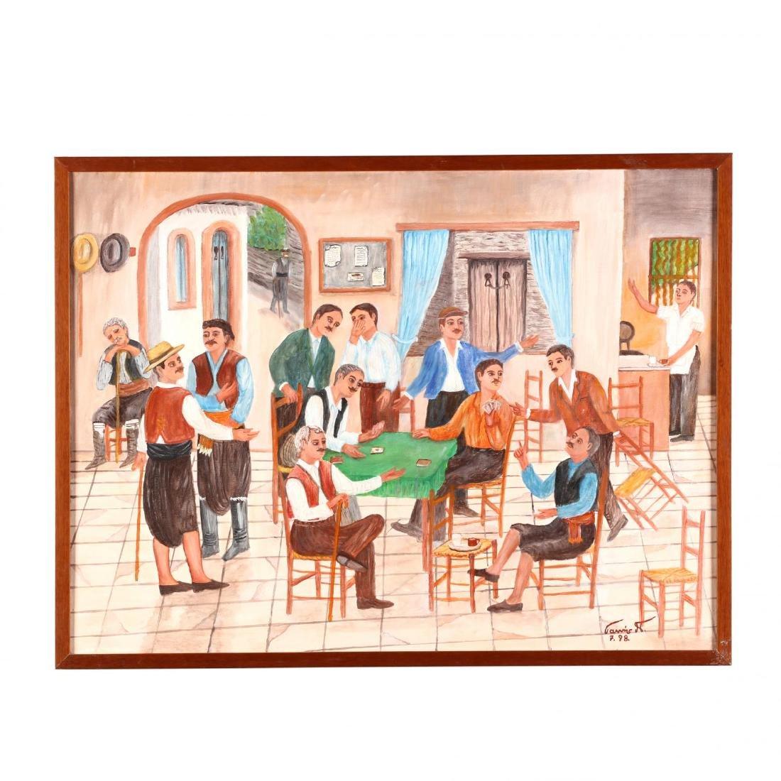 Yiannis Pelekanos (Cypriot, b. 1937), Tavern Card Game