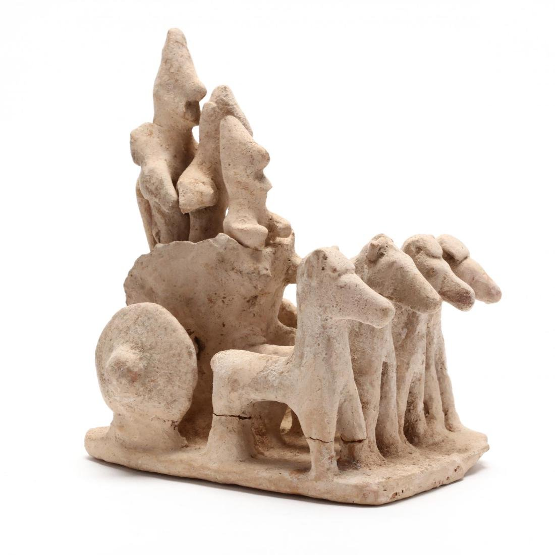 Cypro-Archaic Terracotta Chariot With Three Warriors