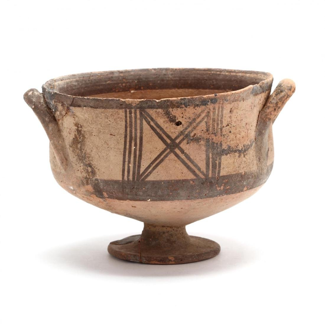 Cypro-Geometric Creme Ware Stemmed Bowl