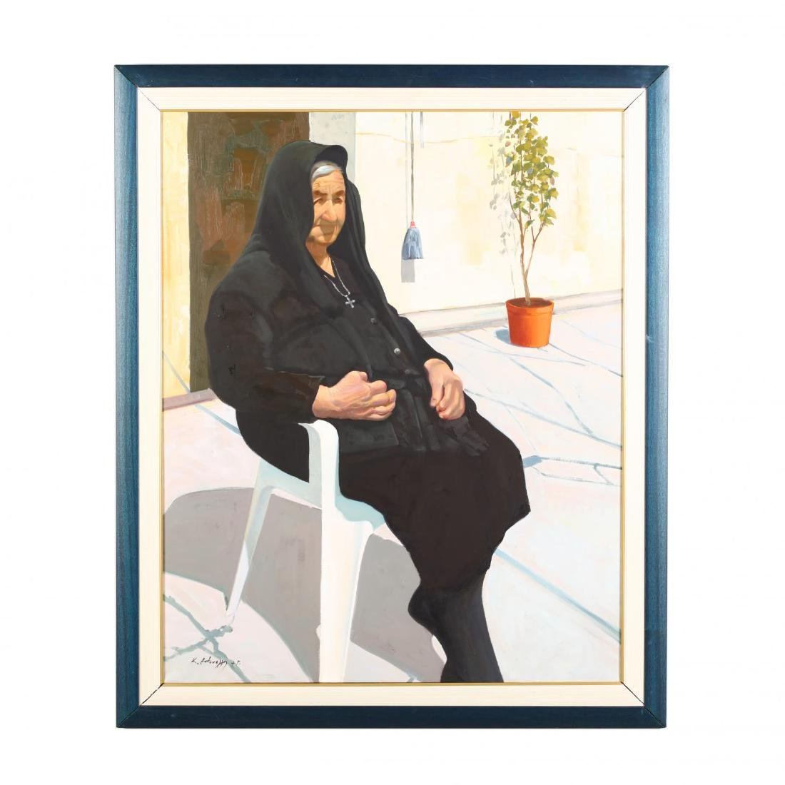 Greek or Cypriot Painting, Grandmother Sunning