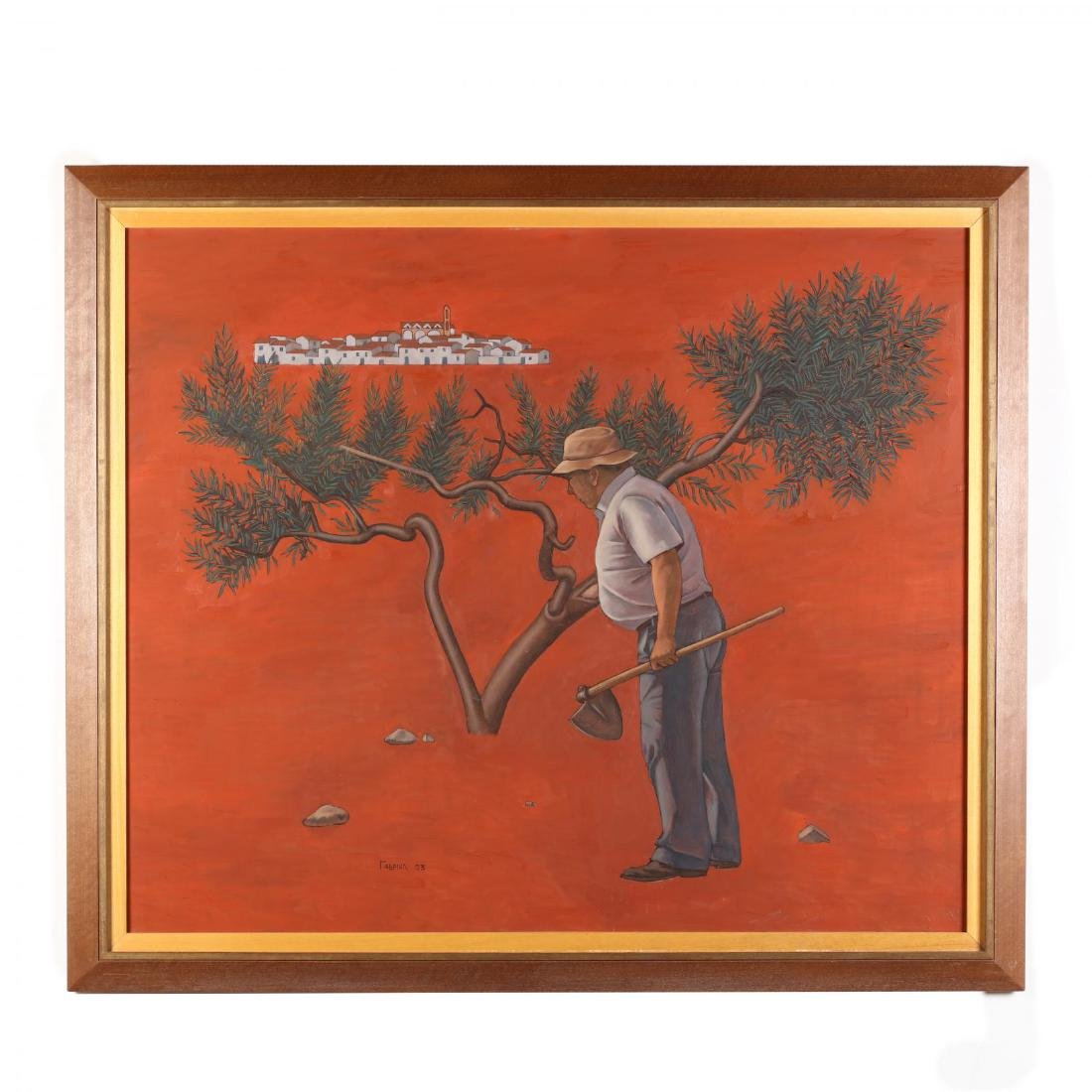 Large Greek or Cypriot Painting of an Olive Grower